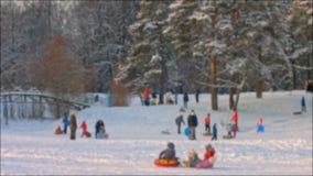 Enfants glissant vers le bas sur les tubes dans la forêt d'hiver banque de vidéos