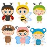 Enfants habillés comme costume mignon d'insecte Photographie stock
