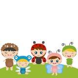 Enfants habillés comme costume mignon d'insecte Photo stock