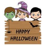 Enfants habillés comme Halloween illustration de vecteur