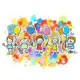 Enfants heureux ainsi que des ballons illustration de vecteur
