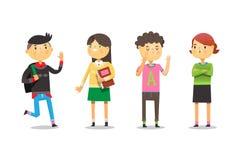 Enfants heureux aux couloirs d'école discutant des devoirs, passe-temps et se saluant après des vacances d'été illustration stock