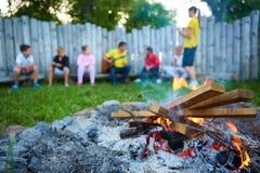 Enfants heureux ayant l'amusement autour du feu de camp Photos libres de droits