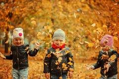 Enfants heureux ayant l'amusement avec des feuilles dans le parc d'automne Image libre de droits