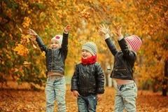 Enfants heureux ayant l'amusement avec des feuilles dans le parc d'automne Photographie stock