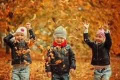 Enfants heureux ayant l'amusement avec des feuilles dans le parc d'automne Photos stock