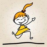 Enfants heureux d'abrégé sur bande dessinée de dessin de main Photo stock