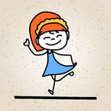 Enfants heureux d'abrégé sur bande dessinée de dessin de main Images libres de droits