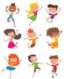 Enfants heureux dans l'ensemble différent de vecteur de positions illustration stock