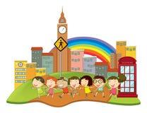 Enfants heureux dans la ville illustration libre de droits