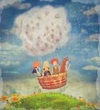 Enfants heureux dans le ballon à air dans le ciel - art d'illustration Image libre de droits