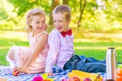 Enfants heureux dans une belle robe sur un pique-nique photographie stock libre de droits