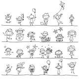 Enfants heureux de bande dessinée de dessin de main Images stock