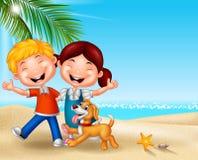 Enfants heureux de bande dessinée sur la plage Photos stock