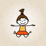 Enfants heureux de personnage de dessin animé de dessin de main Photographie stock libre de droits