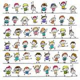 Enfants heureux de personnage de dessin animé de dessin de main illustration de vecteur