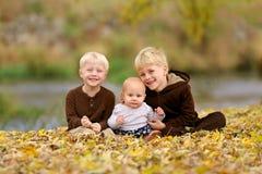 Enfants heureux de Swee s'asseyant dans des feuilles tombées Photos stock