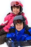 Enfants heureux en hiver Image libre de droits