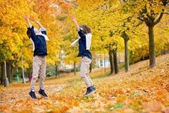 Enfants heureux, frères de garçon, jouant en parc, leav de lancement Image libre de droits
