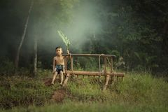 Enfants heureux jouant à la nature dans le jour pluvieux d'automne dans le domaine photos libres de droits