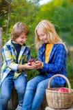 Enfants heureux mangeant des fruits de panier de pique-nique Photo libre de droits