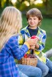 Enfants heureux mangeant des fruits de panier de pique-nique Image stock