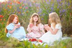 Enfants heureux mangeant le cocktail de fraise dehors dans le domaine de pavot Image libre de droits