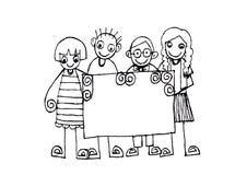 Enfants heureux mignons de bande dessinée illustration stock