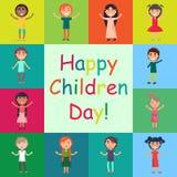 Enfants heureux sur l'affiche colorée de milieux Images libres de droits
