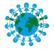 Enfants heureux sur la terre dans le vecteur illustration libre de droits