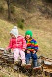 Enfants heureux sur le tronc d'arbre Photos stock