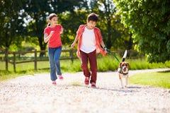 Enfants hispaniques prenant le chien pour la promenade Image stock