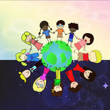 Enfants holdding la main autour du monde Photographie stock