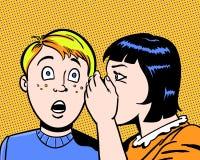 Enfants illustrés comiques partageant un grand secret avec le fond orange Photos stock