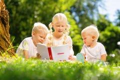 Enfants intéressés lisant un livre tout ensemble en parc photos libres de droits