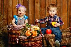 Enfants jouant à la ferme Images libres de droits