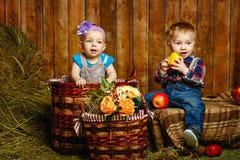 Enfants jouant à la ferme Photo libre de droits