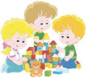 Enfants jouant avec des briques illustration stock