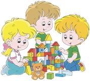 Enfants jouant avec des briques illustration de vecteur