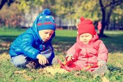 Enfants jouant avec des feuilles d'automne Photographie stock