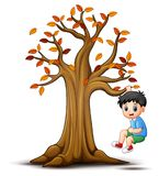Enfants jouant avec l'arbre d'automne illustration de vecteur