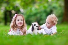 Enfants jouant avec le vrai lapin Photographie stock