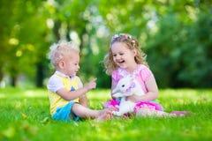 Enfants jouant avec le vrai lapin Image libre de droits