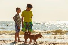 Enfants jouant avec son chien photographie stock libre de droits