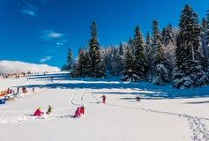 Enfants jouant dans la neige Photos stock