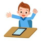 Enfants jouant dans la tablette Photo libre de droits