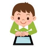 Enfants jouant dans la tablette illustration de vecteur