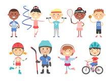 Enfants jouant de divers jeux de sports tels nous hockey, le football, gymnastique, forme physique, tennis, basket-ball, patinage illustration libre de droits