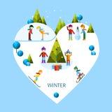 Enfants jouant des jeux d'hiver Photographie stock