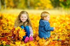 Enfants jouant en parc d'automne Images libres de droits